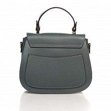 Кожаный клатч Genuine Leather 8833 темно-серого цвета с короткой ручкой и металлическим замком