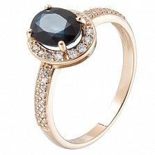 Золотое кольцо Меридит с сапфиром и цирконием