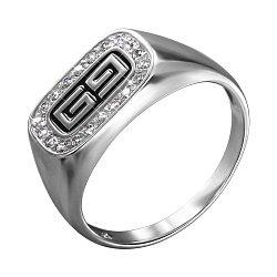 Серебряный перстень-печатка с эмалью и фианитами 000140518
