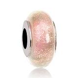 Серебряный шарм Розовая Звездная Пыль с муранским стеклом