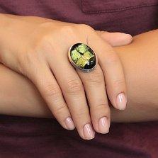 Серебряное кольцо Виндоус с имитацией опала