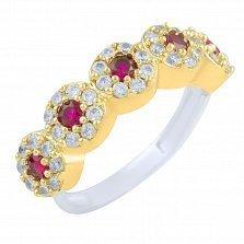 Кольцо из серебра и бронзы Элла с рубином и фианитами