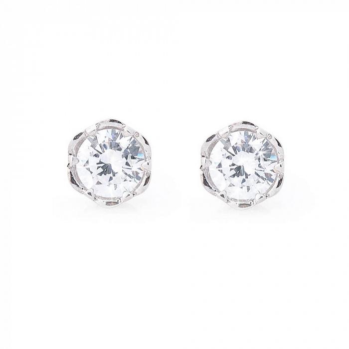 Серебряные серьги-пуссеты Мика с цирконием 000080178