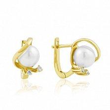 Золотые серьги с жемчугом и кристаллами циркония Клодина