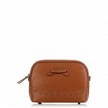 Кожаный клатч Genuine Leather 1408 коньячного цвета с бантом и металлическими ножками