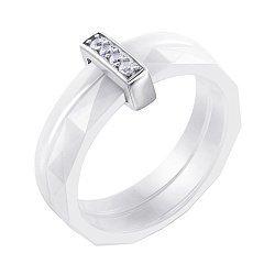 Кольцо из керамики и серебра с фианитами 000141175