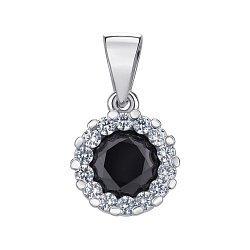 Серебряная подвеска с черным и белыми фианитами 000137861