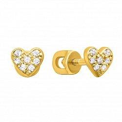 Золотые серьги-пуссеты Доброе сердце в желтом цвете с фианитами