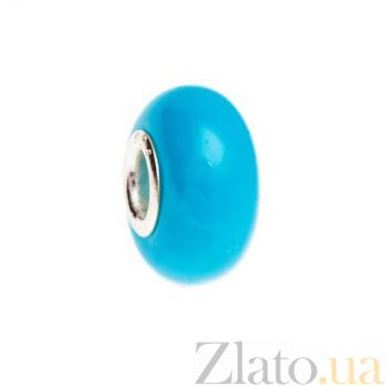 Бусина серебряная с голубым венецианским стеклом AQA--002510075