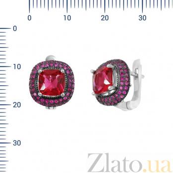 Серебряные серьги Мальта с красными фианитами 000081853