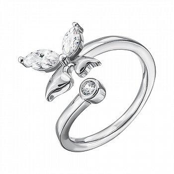 Серебряное разомкнутое кольцо с фианитами 000133953