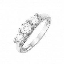 Золотое кольцо Жюстин с сердечками в белом цвете с белыми фианитами