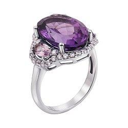 Серебряное кольцо с аметистом и фианитами 000010792