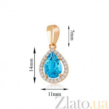 Золотой кулон Виктория с голубым топазом и фианитами EDM--П4030ТОПАЗ