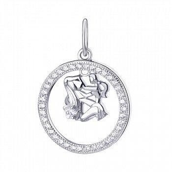 Срібний кулон Водолій з фіанітами 000113680
