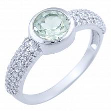 Серебряное кольцо Варда с зеленым аметистом и фианитами