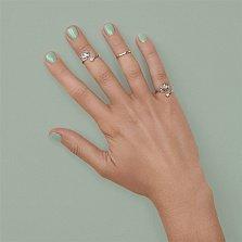 Серебряное кольцо на фалангу Лотос с фианитом