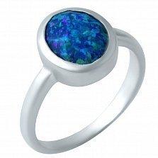 Серебряное родированное кольцо Николь с завальцованным опалом
