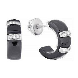 Черные керамические серьги с серебром и фианитами Vogue 000031076