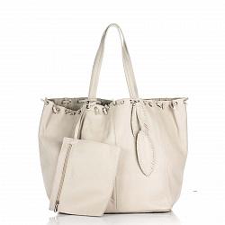 Кожаная сумка на каждый день Genuine Leather 8250 бежевого цвета на кулиске со съемным кошельком