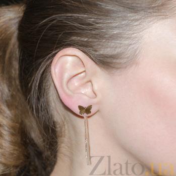 Золотые серьги-цепочки Бабочки LEL--80140