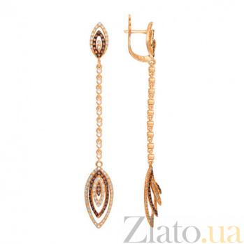 Удлиненные серьги Карина из красного золота с цирконами VLT--ТТТ2334-2
