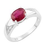 Серебряное кольцо Сольвейг с рубином и фианитами