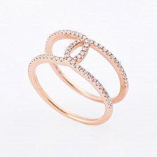 Золотое кольцо Нежное переплетение с бриллиантами