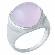 Серебряное кольцо Розовый пузырь счастья с кварцем и родием
