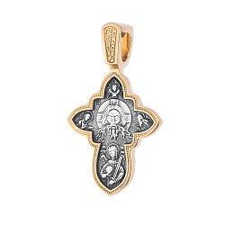 Серебряный крест Спас Нерукотворный и Успение Божьей Матери с позолотой 000062551