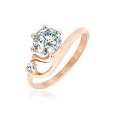 Серебряное кольцо с позолотой и фианитами Сафанур