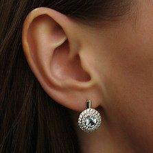 Серебряные серьги Миамо с топазом и цирконием
