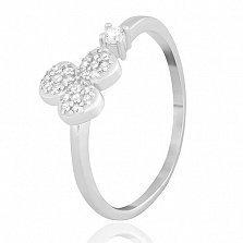 Серебряное кольцо Клевер с фианитами