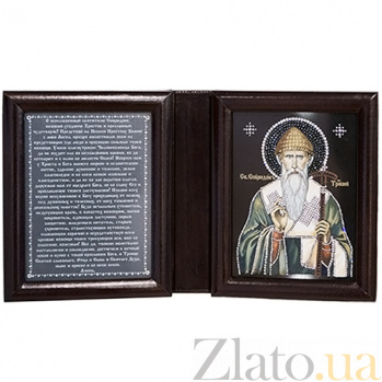 Икона Спиридон Тримифунтский, двойная с молитвой  Спиридон Тримифунтс дв цв