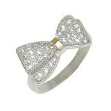 Серебряное кольцо с золотой вставкой и фианитами Стефания