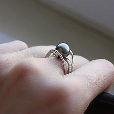Золотое кольцо Клэр в белом цвете с черным жемчугом и бриллиантами