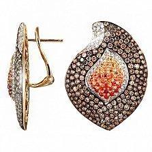 Золотые серьги с коньячными бриллиантами и цветными сапфирами Пламя любви