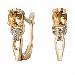 Серьги из желтого золота Айседора с цитринами и бриллиантами