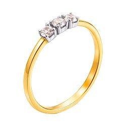Золотое кольцо Альва в желтом и белом цвете с фианитами