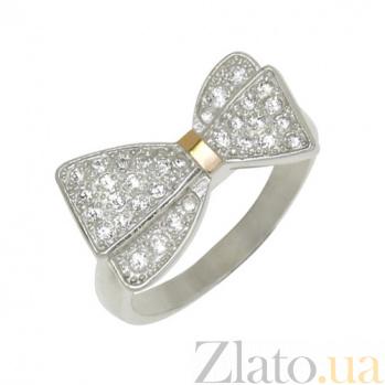Серебряное кольцо с золотой вставкой и фианитами Стефания BGS--596к
