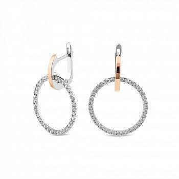 Серебряные серьги-подвески с золотыми накладками и фианитами 000146489