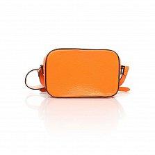 Кожаный клатч Genuine Leather 1654 оранжевого цвета с перфорированными узорами и плечевым ремнем