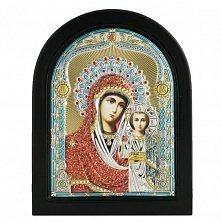 Икона на деревянной основе Богородица Казанская с позолотой и цветной эмалью, 12х17