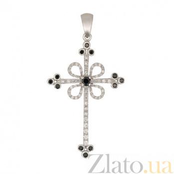 Крестик из белого золота с черными и белыми фианитами Любовь VLT--ТТ3355-2