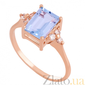 Золотое кольцо с топазом и фианитами Анжиолетта VLN--112-1327-1