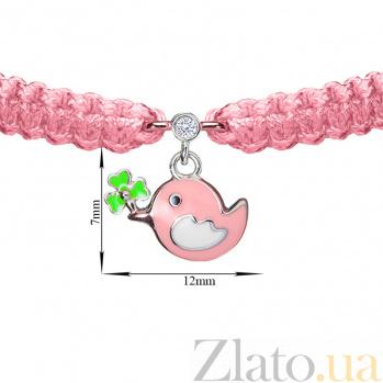 Детский плетеный браслет Птичка и клевер с эмалью и фианитом 12-7см 000080605