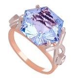 Золотое кольцо с топазом и фианитами Октагон