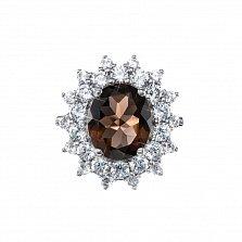 Серебряное кольцо Робертина с раухтопазом и фианитами