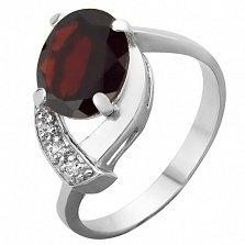 Серебряное кольцо с гранатом и фианитами Дарина