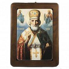 Икона на деревянной основе Святой Николай с цветной эмалью, 26х35